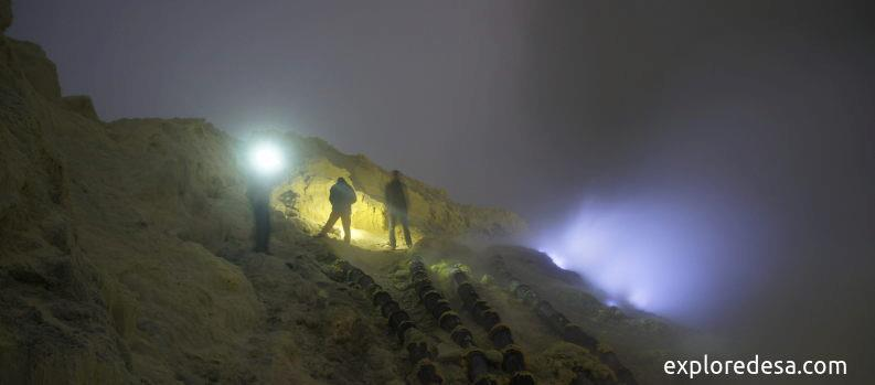 kawah Ijen Volcano inside of the Crater with Blue Fire.